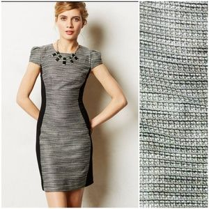 Anthro Moulinette Soeur Blk Tweed Silhouette Dress